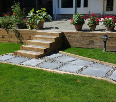 24''x24'' Concrete Slab Paver Walkway to Wooden Stairs and Retaining Wall